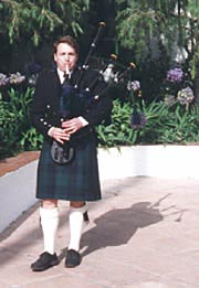 Andrew bagpiping at wedding