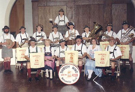 The Thirsty Nine band - 15 people in traditional german attire